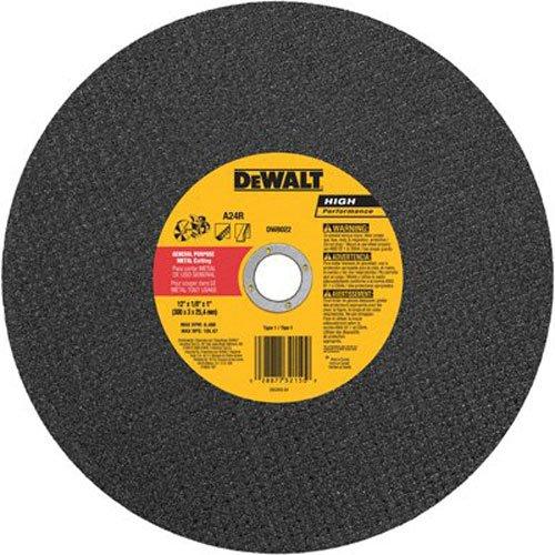 DEWALT Cutting Wheel For Metal, A24N Abrasive, 12-Inch x 1/8-Inch x 1-Inch (DW8022)