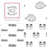 SwaddleDesigns Cotton Muslin Squares, Set of 3, Black Hedgehog