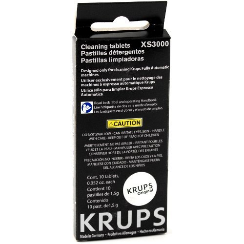 Krups 10 Cleaning Tablet Pack for Compact Fully Automatic Espresso Machines, Set of 3