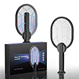Matamoscas Eléctrico, 2-en-1 Raqueta Eléctrica Mata Insectos para dormitorio Guarderia Interior Exterior, Carga USB (Negro)