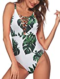 Ekouaer Womens One Piece Swimsuit Sexy Hollow Out V Neck Cross Back Monokini,66-green Leaves,Small