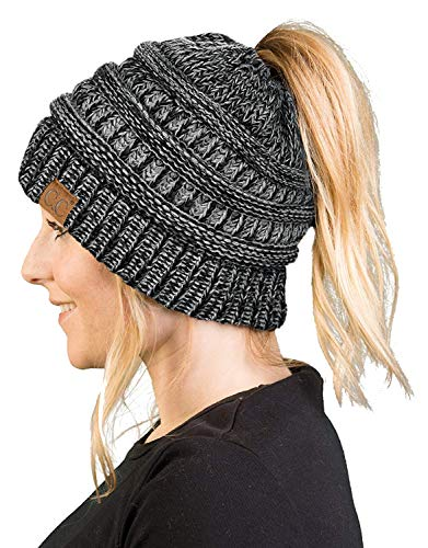 Messy Bun Womens Winter Knit Hat Beanie Tail  Grey/Black#31