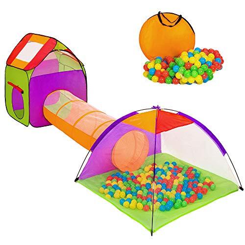 Hengda Kinderspielzelt, 200 Bälle Bällebad Pop UP Spielzelt für Kinder mit Bodenmatte, Orange