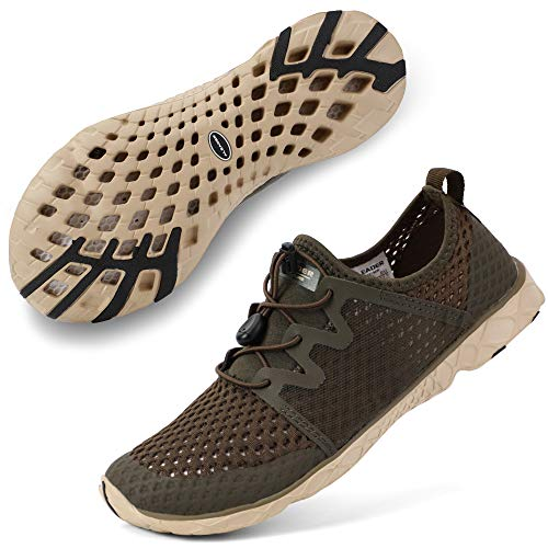 ALEADER Womens Athletic Water Shoes for Outdoor, River Hiking, Wet Walking Khaki 7.5 B(M) US