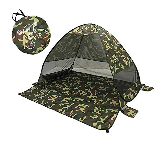 Lightahead Automatic Pop Up UV Resistant (UV50+) Sun Shade Portable Camping Tent Picnicing Fishing Hiking Canopy Easy Setup Outdoor Cabana Tents with Carry Bag (Small 2P, Army) (LA-HY-101MC-2P)