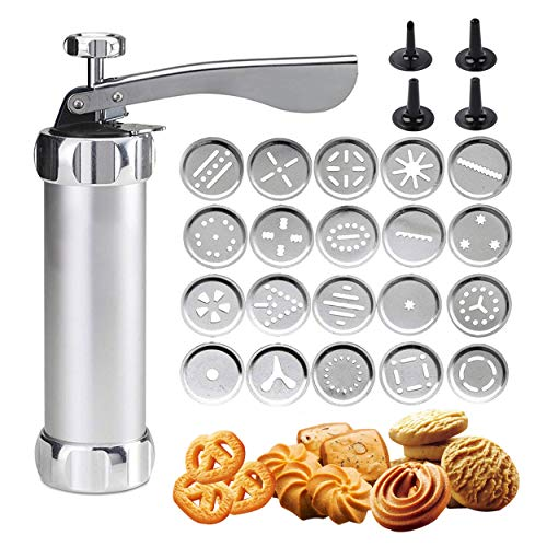 Shule Cookie Press Gun Kit for DIY Biscuit Maker and Decoration with 20 Stainless Steel Cookie discs and 4 nozzles, Silver