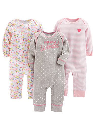Simple Joys by Carter's Baby Girls' 3-Pack Jumpsuits, Gray, Pink Stripe, Floral, 0-3 Months
