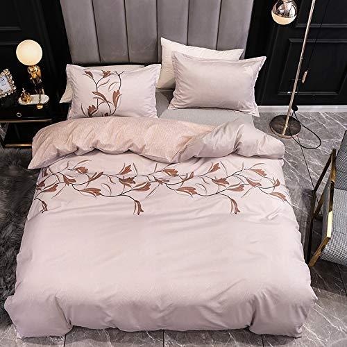 BIANXU Juego de ropa de cama nórdico con estampado de hojas y funda de edredón para cama individual, doble, queen, King, 135 x 200 cm y 2 fundas de almohada de 50 x 70 cm