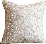 The HomeCentric Funda de Almohada Decorativa Marfil Seda Blanca con Bordado Seda 40 x 40 cm Marfil, Funda de cojín Hecha a Mano Seda Jacquard - Pure Essence