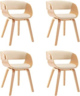vidaXL 4X Sillas de Comedor Madera y Cuero Sintético Decoración Mobiliario Casa Cocina Salón Sofás Sillones Asientos Muebles Estilo Diseño Color Crema