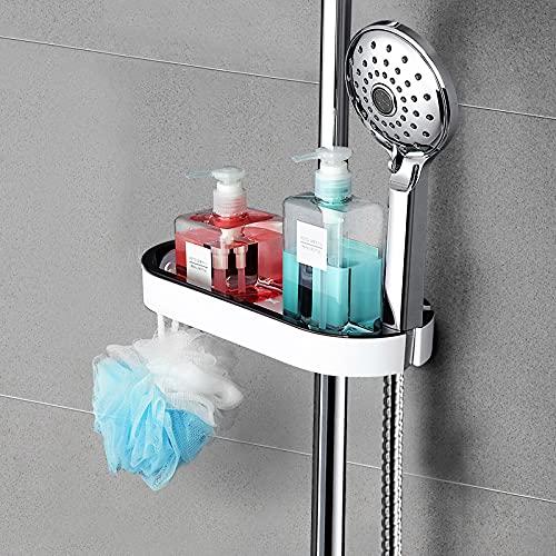 SUPGOMAX Duschablage Duschstangen-Regal, Duschkorb Ohne Bohren Duschregal, Verstellbar Duschstange Ablage Dusche Rack, für Durchmesser von 22mm - 25mm