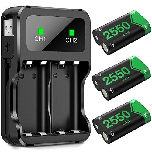BEBONCOOL Batterie Manette Xbox One, Chargeur Manette Xbox One pour Contrôleur Xbox Series X/S | Xbox One/One S/One X/One Élite, Piles Manette Xbox One avec 3 Batteries Rechargeables de 2550 mAh