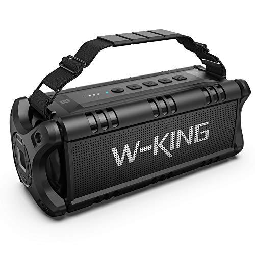 W-KING 50W(70W Piek) Bluetooth Lautsprecher Wasserdicht, 24 Stunden Laufzeit, 8000mAh Power Bank, 30 Meter Reichweite, Tragbare Bluetooth Speaker Box Lautsprecher Musikbox mit TWS/NFC (Alles Schwarz)