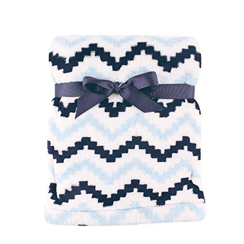 Hudson Baby Super Plush Blanket, Blue Chevron, 30\