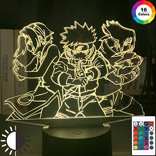 3d Night Light Naruto Team 7 Uzumaki Naruto Sasuke Sakura Figure Home Decoration LED Night Lamp Anime Gift For Kids Child Boys