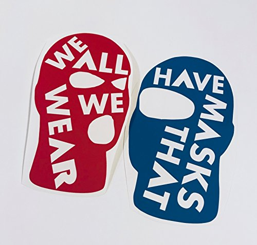 We all Have Masks Red and Teal Vinyl Decal Stickers