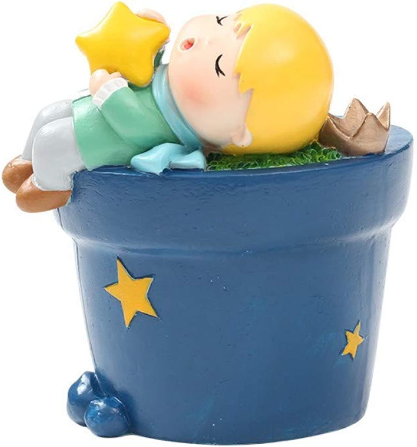JIAHUADE Cartoon Fairy Tale Little Prince Creative Crafts Resin Fleshy Flower Pot Planting Gifts,4
