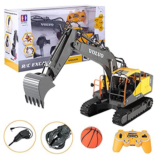 KOAEY 3-in-1 RC Escavatore Modello, 2.4Ghz Escavatore Professionale Telecomandato Radiocomandato Scavatrice Ingegneria Veicolo da Costruzione Giocattolo