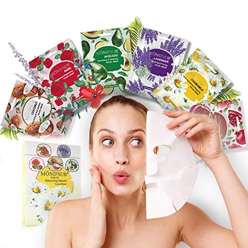 RK RAKAO Luxus Gesichtsmasken Beauty Set - Anti Aging - Tuchmasken Gesicht - Masken Beauty Gesichtspflege - spendet Feuchtigkeit - Hyaluronsäure - Mitesser entferner - Face Mask Beauty - Anti Pickel