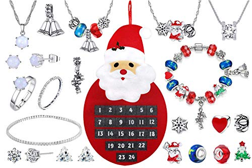 Christmas 2020 Advent Calendar Jewellery Jewelry 24 Days Countdown Made with Crystals From Swarovski Women Girls Xmas DIY Charm Bracelet Necklace Earrings Stud Ring Anklet Bracelet Gift (Fat Santa)