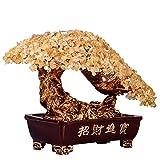 Árbol del dinero bonsai feng shui Crystal árbol Bonsai Feng Shui de la piedra preciosa del árbol del dinero for la energía positiva, suerte y riqueza Top Plaza Chakra Healing cristales de cobre del ár