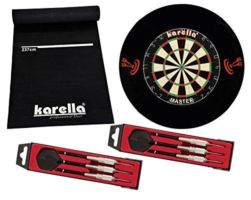 Karella Dart Starter Set mit Dartboard, Dartmatte ECO-Star, 2 Dartpfeilsätzen ST-1 und 4-TLG. Catchring