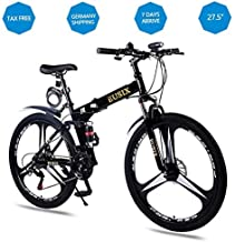 EUSIX X9 Bicicletas De Montaña para Hombre Y Mujer 24 Velocidades Bicicleta Montaña 27.5 Pulgadas Marco De Acero De Alto Carbono MTB con Suspensión Y Doble Freno De Disco Bicicleta Plegable