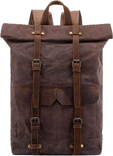 Sac à dos en toile unisexe, sac d'école étanche Vintage, sac à dos pour ordinateur portable décontracté en plein air convient à l'ordinateur Daypack College, randonnée, camping
