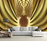 Ptcta Papel pintado no tejido 3D Fantasía dorada y azul brillante y hermoso fondo de modelado 3D decoración de la pared pintura 431-420cm(W) x 260cm(H)