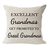 Andreannie Best Grandma Gifts Excellent Grandmas Get Promoted to Great Grandmas Cotton Linen Throw Pillow Case Cushion Cover Home Office Decorative Square 18 X 18 Inches ¡­