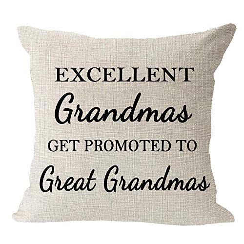 Andreannie Best Grandma Gifts Excellent Grandmas Get Promoted to Great Grandmas Cotton Linen Throw Pillow Case Cushion Cover Home Office Decorative Square 18 X 18 Inches ¡