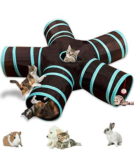 Tunnel per gatti, pieghevole, leggero, a 5 vie, con pompon e campanelle, giocattolo interattivo per gattini, coniglietti, cuccioli, furetti, porcellini d'India