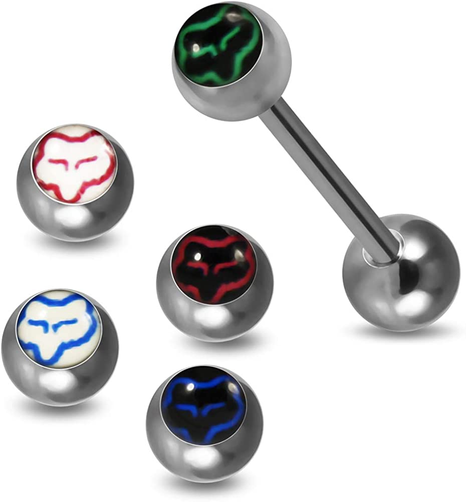 Straight Barbells One Full Set Logo Tongue Bar with 4 Pieces Star Design Logo Ball Tongue Jewelry