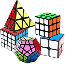 Speed Cube Set, Puzzle Cube, Magic Cube 2x2 3x3 4x4 Pyraminx Pyramid Megaminx Puzzle Cube Toy for Children Adults, Pack of 5