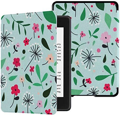 Geheel nieuwe Kindle Paperwhite Waterveilige stoffen hoes (10e generatie, release 2018), leuke bloempaardebloem Eenvoudige minimalistische naadloze tablethoes