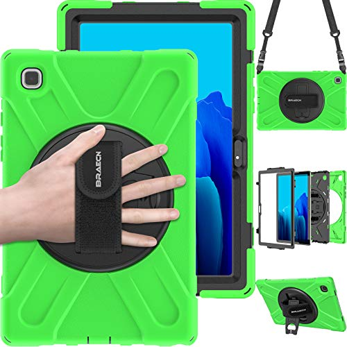 BRAECN Galaxy Tab A7 Hülle 2020, SM-T500 Hülle, Rugged Shockproof Heavy Duty Hard Hülle mit Schultergurt, Handschlaufe, Kickstand für Samsung Galaxy Tab A7 10.4 Zoll 2020 Modell SM-T500 SM-T505-Grün