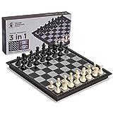 Juego de Ajedrez, Damas y Backgammon Magnético de Viaje 3 en 1 - 25 centímetros