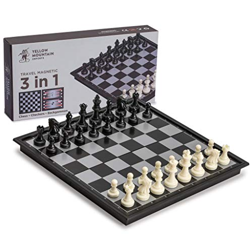 3-in-1 Travel Magnetic Chess, Checkers, and Backgammon Set