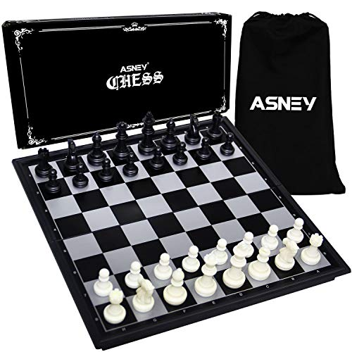 ASNEY Magnetic Travel Chess Set with Folding Chess Board Educational Toys for Kids and Adults Carry Bag for Chess Game Board Board Size 10 Inches