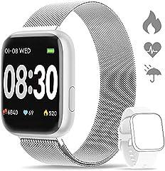 WWDOLL Smartwatch, Reloj Inteligente IP67 con Monitor Rítmo Cardíaco Sueño Podómetro Notificaciones, Reloj Deportivo 1.4 Inch Pantalla Táctil Completa Hombre Mujer para iOS y Android (Plata)