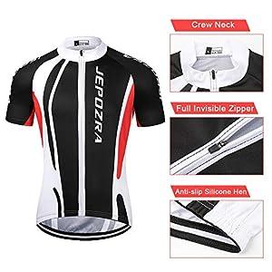 JEPOZRA Maillot Ciclismo Corto De Verano para Hombre, Respirable Secado Rápido Ciclo Jersey de Manga Corta + 9D Almohadilla De Gel Culote y para Bicicleta MTB Ciclista Bici (Negro, L)