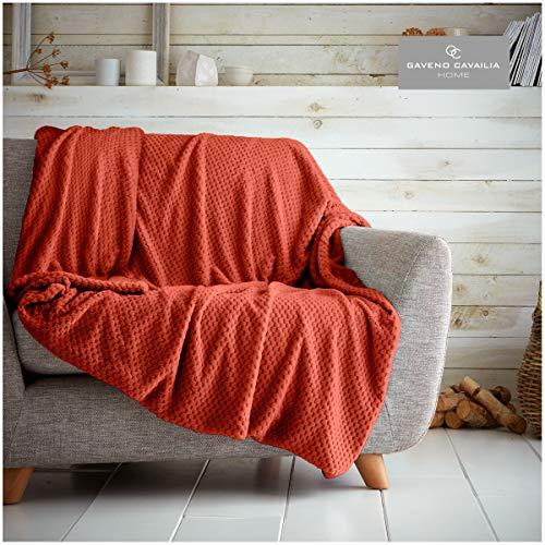 Gaveno Cavailia - Manta para sofá o Cama, diseño de Palomitas de maíz, Muy Suave y esponjosa, de fácil Cuidado, Ligera, de Lujo, acogedora, cálida, con gofre (130 x 150 cm), Color Negro