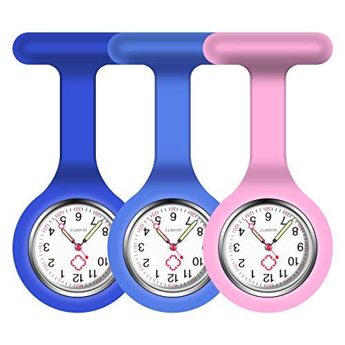 Vicloon Krankenschwester Armbanduhr, 3 Pcs Schwesternuhr mit Glow Pointer und Pin/Clip, FOB-Uhr Quarzwerk, Silikonband, Ansteckuhr Fob für Krankenschwestern und Ärzte