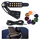 JOINSI 12 SoundHole Guitar Pickup Acoustic Electric Transducer for Acoustic Guitar Magnetic Preamplifier with Picks, Cable Length 10 ft