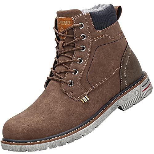 Mishansha Botas de invierno para hombre y mujer, cálidas, forradas, impermeables, botas de invierno, marrón, 40 EU