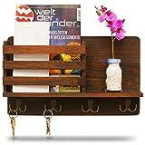 LEMOUGREE Schlüsselbrett mit Ablage aus Holz für die Wand inklusive Zeitungsfach - Garderobe...