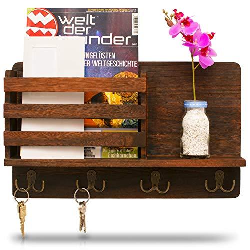 LEMOUGREE Schlüsselbrett mit Ablage aus Holz für die Wand inklusive Zeitungsfach - Garderobe Vintage - Hakenleiste als Schlüsselhalter und Schlüsselkasten - Schlüssel Organizer Garderobenleiste