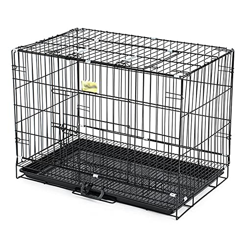 SLTO Negro Cable Metálico Perrera del Cajón Mascotas Jaula De Perro Pequeño Plegable Casa De Perro con Retirable Plástico Bandeja para Interior-Negro 61x43x50cm