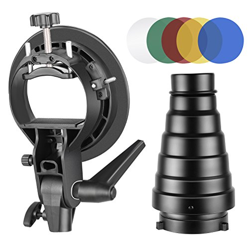Neewer Fotografia S-Type Soporte de Flash Snoot Cónico Kit con Bowens Mount, Rejilla de Panal de Abeja, 5 Piezas Color Gel Filtros para Speedlite Flash Softbox y Plato de Belleza Paragua Reflector