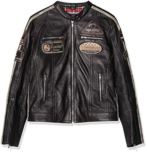 BOSmoto dames retro motorfiets leren jas zwart (42)